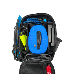 Diving Apparatus Packed into Backpack on White Background