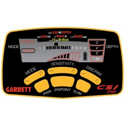 Closeup of console box on Garrett CSI 250 Ground Search Metal Detector LCD screen