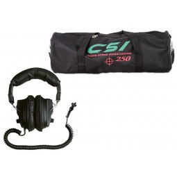 Carrying bag and headphones that come with Garrett CSI 250 Ground Search Metal Detector from Kellyco Metal Detectors