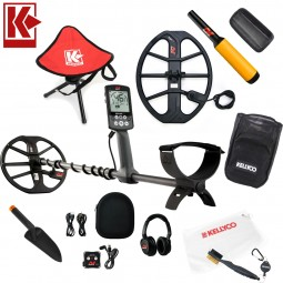 """Minelab Equinox 800 Metal Detector Bundle with 15"""" EQX Smart Coil on White Background with Kellyco Logo in Upper Left Corner And Accessories Arranged Around Metal Detector at the Center"""