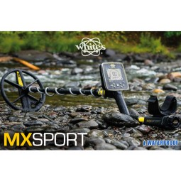 White's MX Sport Waterproof Detector laying on a rocky riverbank