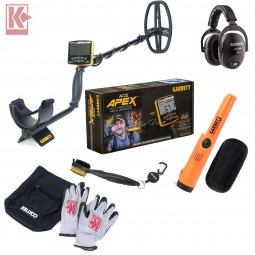 Garrett ACE Apex Metal Detector with Box Garrett Pro Pointer AT Headphones Sifter Bag Gloves and Finds Brush on White Background