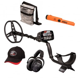 Garrett AT Max / Pro-Pointer AT Z-Lynk Fall Special with Camo Pouch, Hat and Headphones on White Background