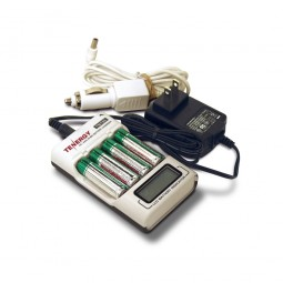Rechargeable Batteries in Battery Recharger on White Background