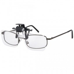 Carson Optical Clip and Flip lenses on a pair of glasses