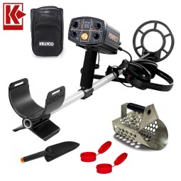 Fisher CZ-21 Metal Detector with Sand Scoop and Finds Accessories on White Background with Kellyco Red K Logo in Upper Left Corner