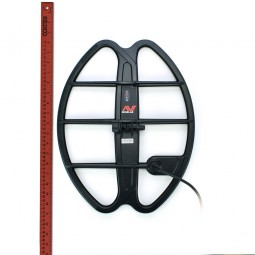 """Minelab 17"""" DD Smart Coil for Minelab CTX-3030 next to red ruler"""