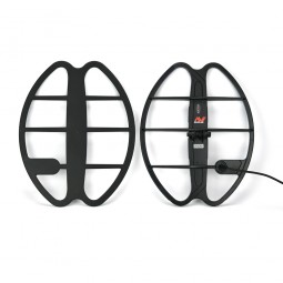 """Minelab 17"""" DD Smart Coil for Minelab CTX-3030 and coil cover on white background"""