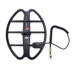 """Minelab 17"""" DD Smart Coil for Minelab CTX-3030 and cable connector on white backgorund"""