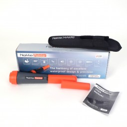 Nokta Makro Pinpointer with Orange Scraper Cap with Box in Background, Belt Holster on Top, and One Orange Cover on White Background