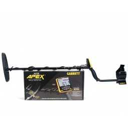 Garrett ACE Apex Metal Detector Assembled on Top of Manufacturer's Box on White Background