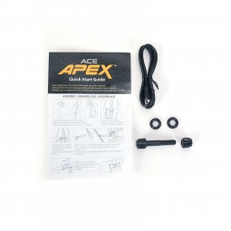 Garrett ACE Apex Quick Start Guide USB Cable and Coil Hardware on White Background
