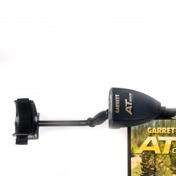 Control Box Grip and Armrest of Garrett AT Gold Metal Detector on White Background Resting on Manufacturer's Box