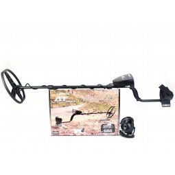 Garrett AT Pro Metal Detector on top of Manufacturer's Box with Headphones at Lower Right Corner of Box on White Background