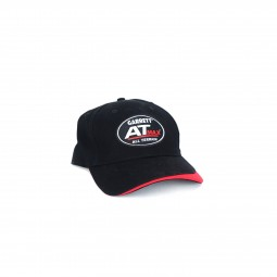 Hat with AT Max Logo Embroidered in White and Red with Red Accent on Brim on White Background