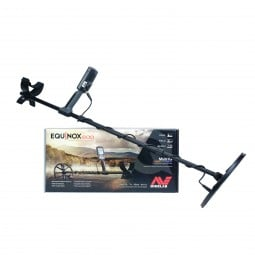 Minelab Equinox 600 Metal Detector Resting on Manufacturer's Box on White Background