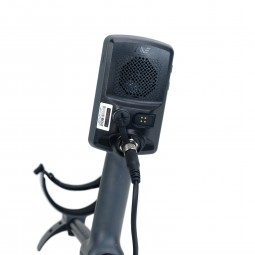 Control Pod of Minelab Equinox 600 Metal Detector with Arm Cuff in Background on White Background