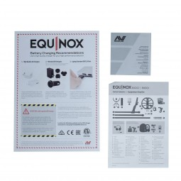 Quick Guide and Manuals of Minelab Equinox 600 Metal Detector on White Background
