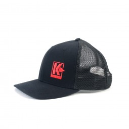 Kellyco Black Hat with Embroidered Red Logo on White Background