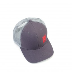 Kellyco Gray Hat with Embroidered Red Logo on White Background