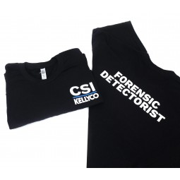 Front and Back of Kellyco Black CSI Forensic Detectorist Shirt on White Background