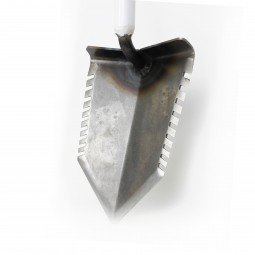 Bare Metal Angled Nose of T-Handle White Shovel on White Background