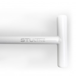 T-Handle Grip of White Shovel with Stu Line Text in Gray on White Background