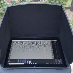 Closeup of tablet on Easy Radar USA Deluxe Ground Penetrating Radar Cart System
