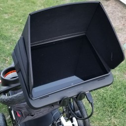 Sideview of sunshade and tablet on Easy Radar USA Deluxe Ground Penetrating Radar Cart System