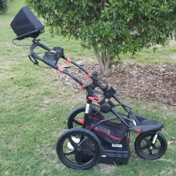 Sideview of Easy Radar USA Deluxe Ground Penetrating Radar Cart System on the grass