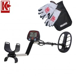 Teknetics EuroTek Pro 11DD Metal Detector with Kellyco Gloves, Pouch, and Trowel in Upper Right Corner and Red Kellyco Logo in Upper Left on White Background