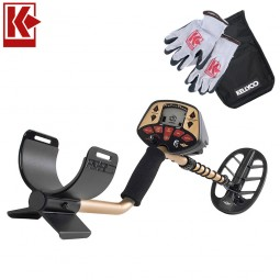 Fisher F4 Metal Detector with Kellyco Gloves and Pouch in Upper Right Corner and Red Kellyco Logo in Upper Left on White Background
