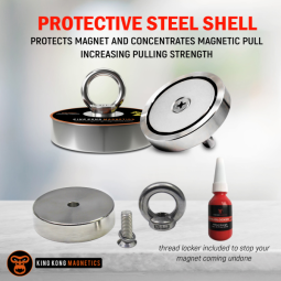 A graphic showcasing the steel shell on the King Kong Starter Fishing Magnet Kit - 400 lbs