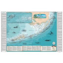 Sealake Maps Laminated Shipwreck Map of the Florida Keys - 1