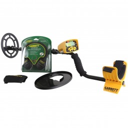 Garrett ACE 300 55-Year Anniversary Special Metal Detector shown with coil cover and headphone in package