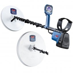 """GPX 6000 Metal Detector with 11"""" Coil and 14"""" Coil on White Background"""