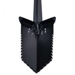 "Closeup on spade of Grave Digger Tools 36"" Nemesis Black T-Handle Shovel"