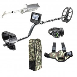 Kruzer Multi Metal Detector with Backpack Headphones Premium Shovel and Pinpointer Holster on White Background