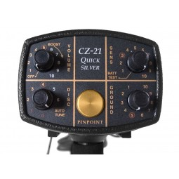 """Closeup of panel and dials of Fisher CZ-21 Metal Detector with 8"""" Search Coil"""