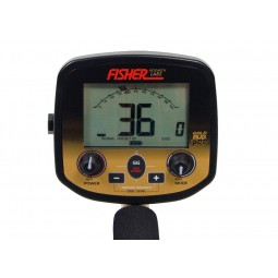 Panel and dials on a Fisher Gold Bug Pro Metal Detector shown on white background