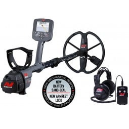 Minelab CTX 3030 Standard Metal Detector with Wireless Headphones shown with accessories from Kellyco Metal Detectors