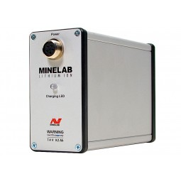 Closeup of lithium ion battery from Minelab GPX 5000 Metal Detector
