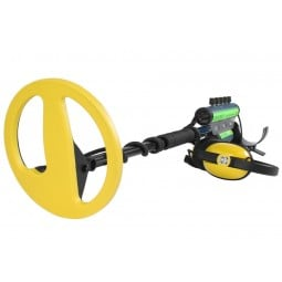 "Minelab Excalibur II Metal Detector with yellow bottom of 10"" Search Coil pointing towards screen"
