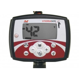 Closeup of face plate on Minelab X-Terra 505 Metal Detector