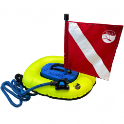 A view of the BLU3 Nemo diving apparatus with Red and White Flag on White Background