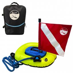 Nemo Backpack and Diving Apparatus with Red Flag on White Background