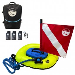 Nemo Backpack, 3 Batteries, Charger and Diving Apparatus with Red Flag on White Background