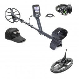 Nokta Makro Simplex+ Metal Detector with Wireless Headphones shown in full side profile With Hat Headphones and SP24 Coil on White Background