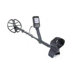 Nokta Makro Simplex+ Metal Detector with Wireless Headphones in sideview with arm sling to the right