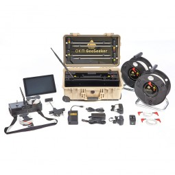 OKM GeoSeeker Water and Cavefinder shown with accessories from Kellyco Metal Detectors
